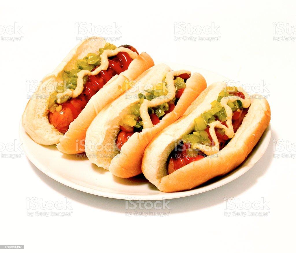 Three dogs in a bun stock photo