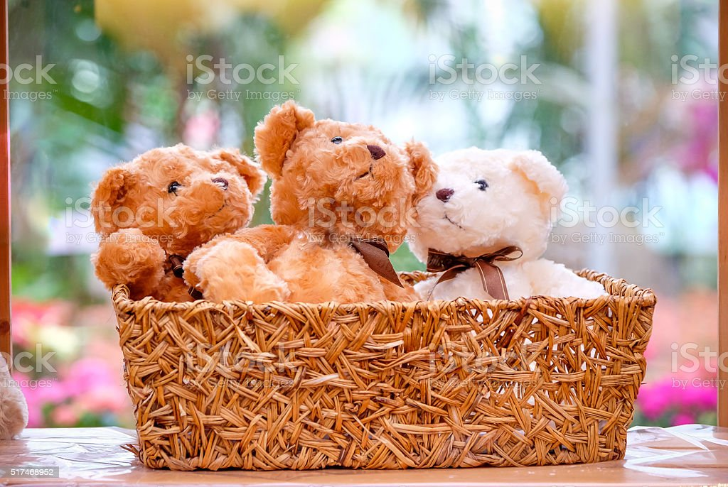 three dolls in basket stock photo