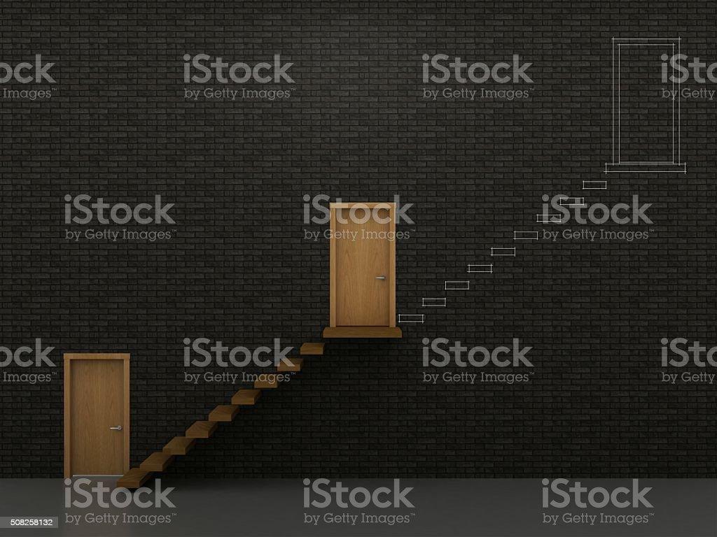 Three doors and stairs 1 stock photo