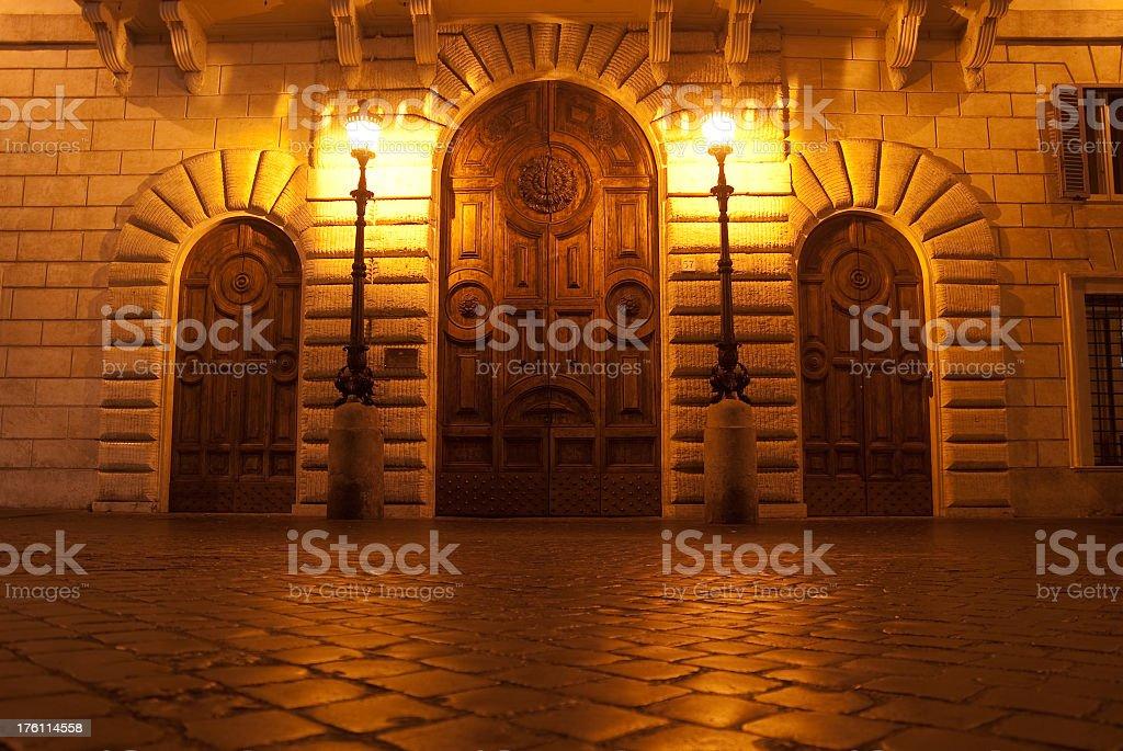 Three Doors at night royalty-free stock photo