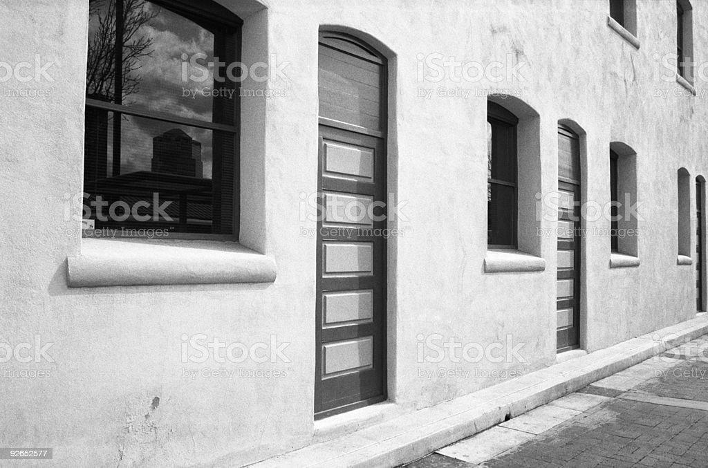 Three Doors, Four Windows stock photo