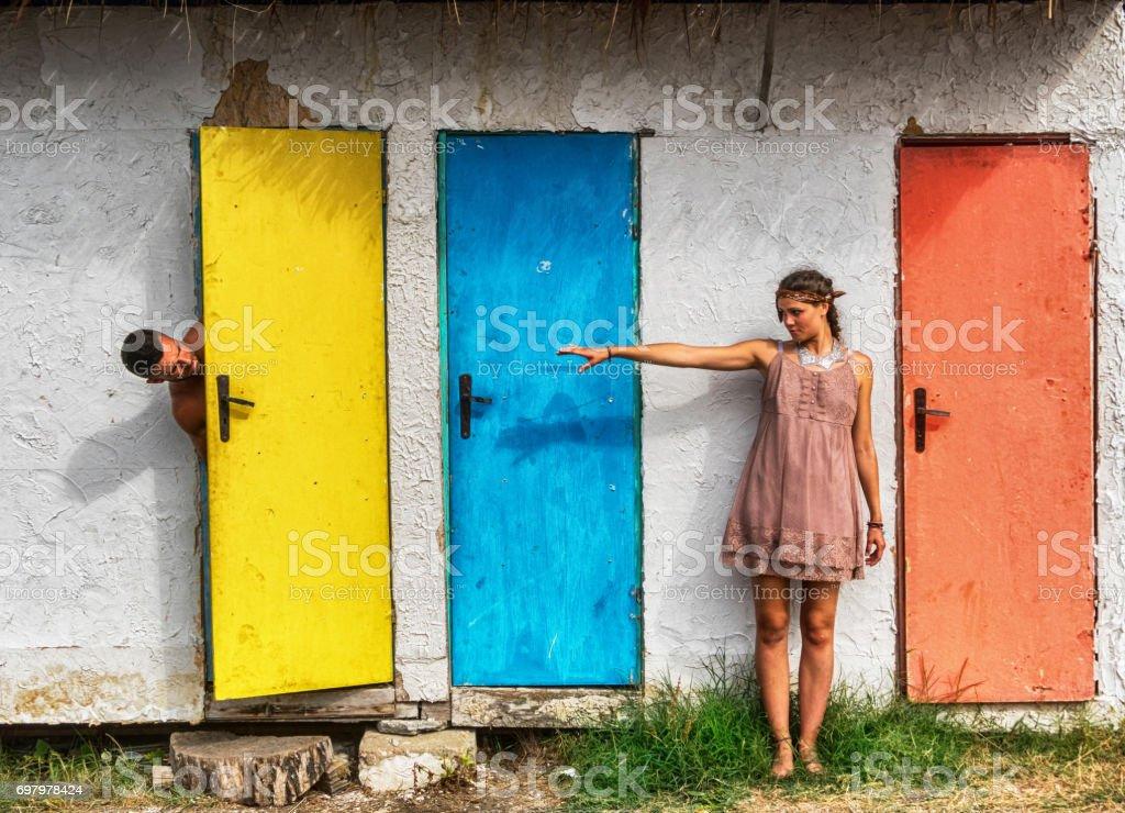 Three doors in color stock photo