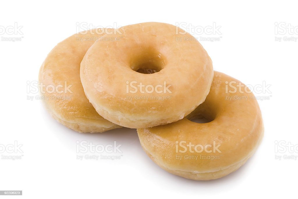 Three doughnuts or donuts isolated on white royalty-free stock photo