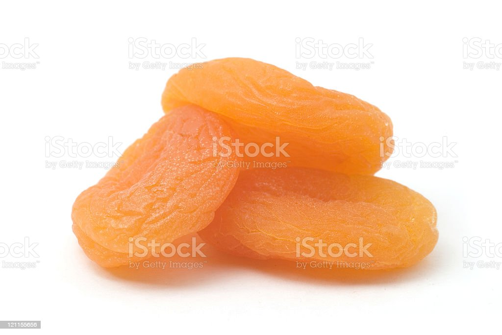 Three Dried Apricots stock photo