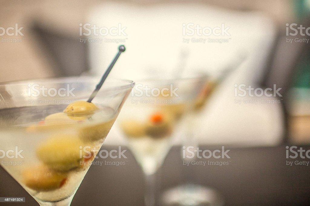 Three dry martinis stock photo