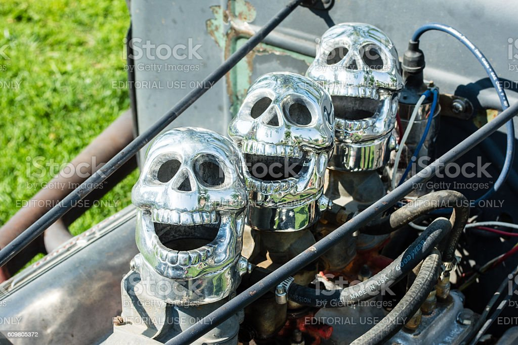 Three Dueces with Skull Air  Cleaners stock photo