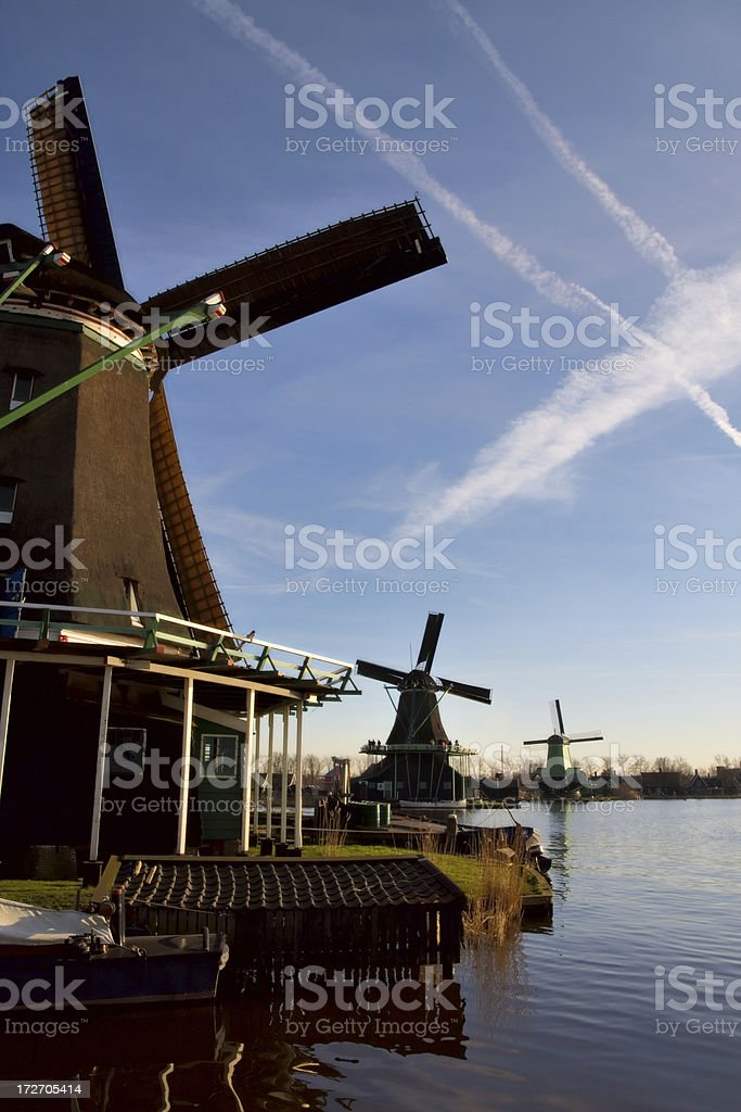 Three dutch historical windmills royalty-free stock photo