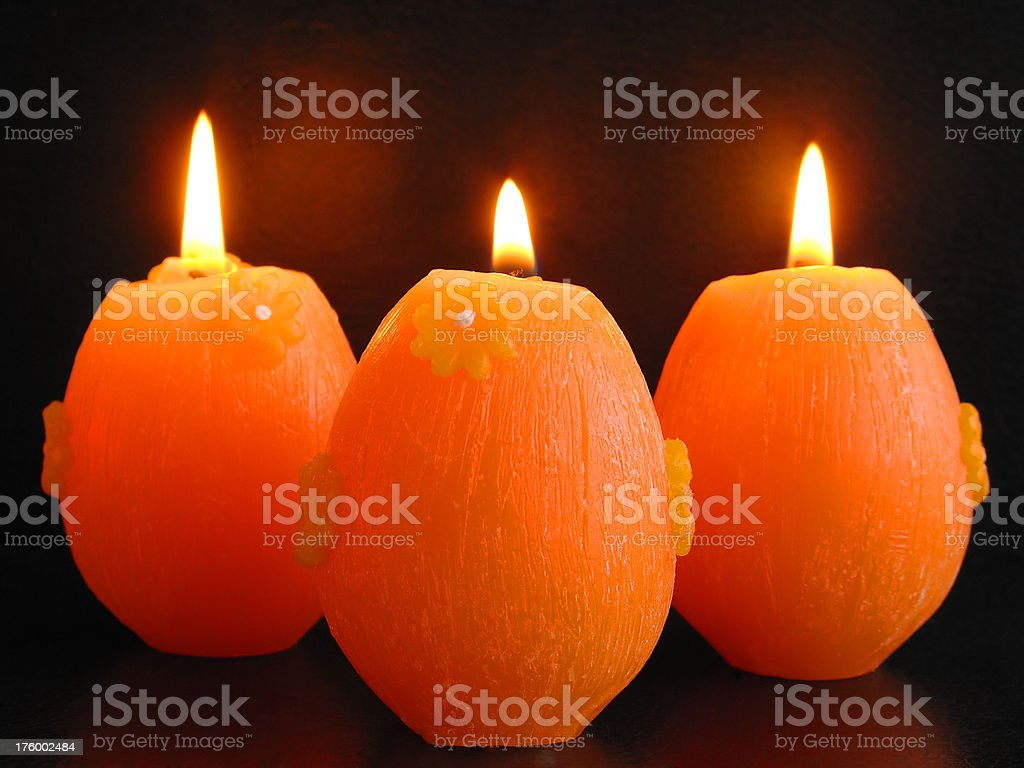 Three Easter Candles royalty-free stock photo
