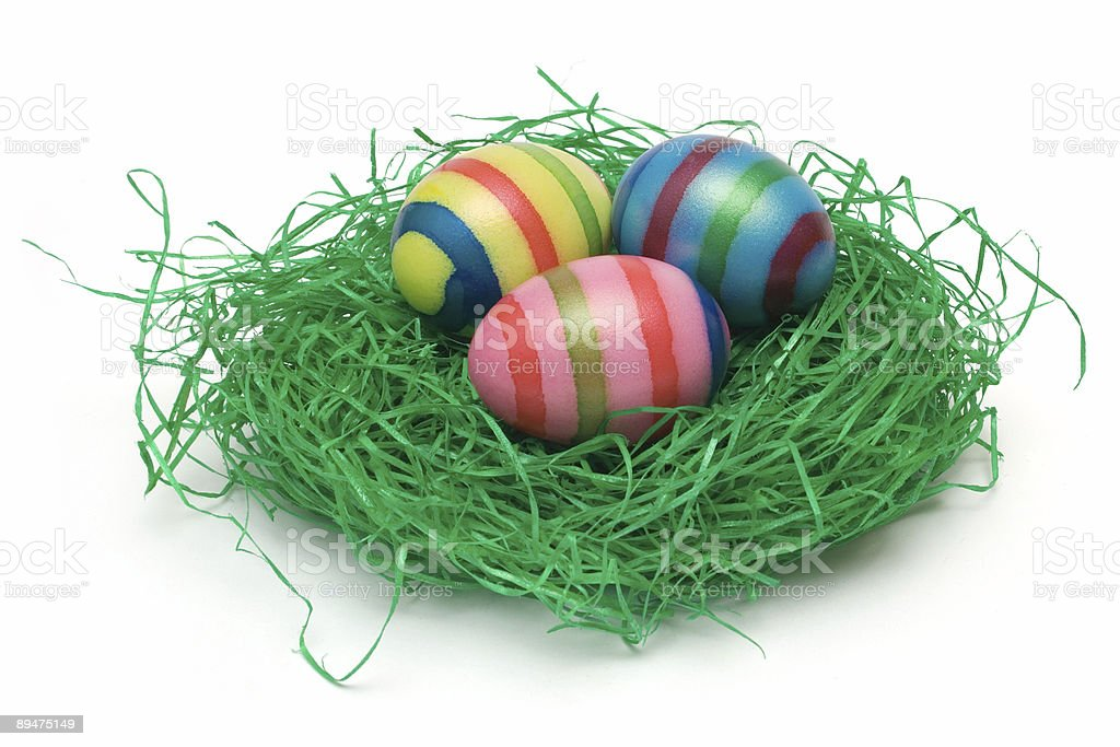 Three Easter Eggs on Grass royalty-free stock photo