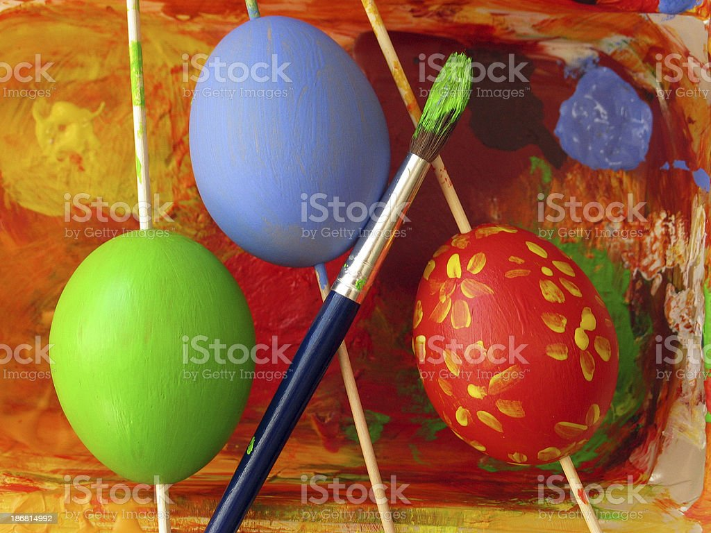 Three eastereggs royalty-free stock photo