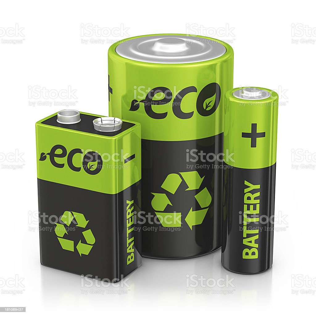 three eco recycling batteries royalty-free stock photo