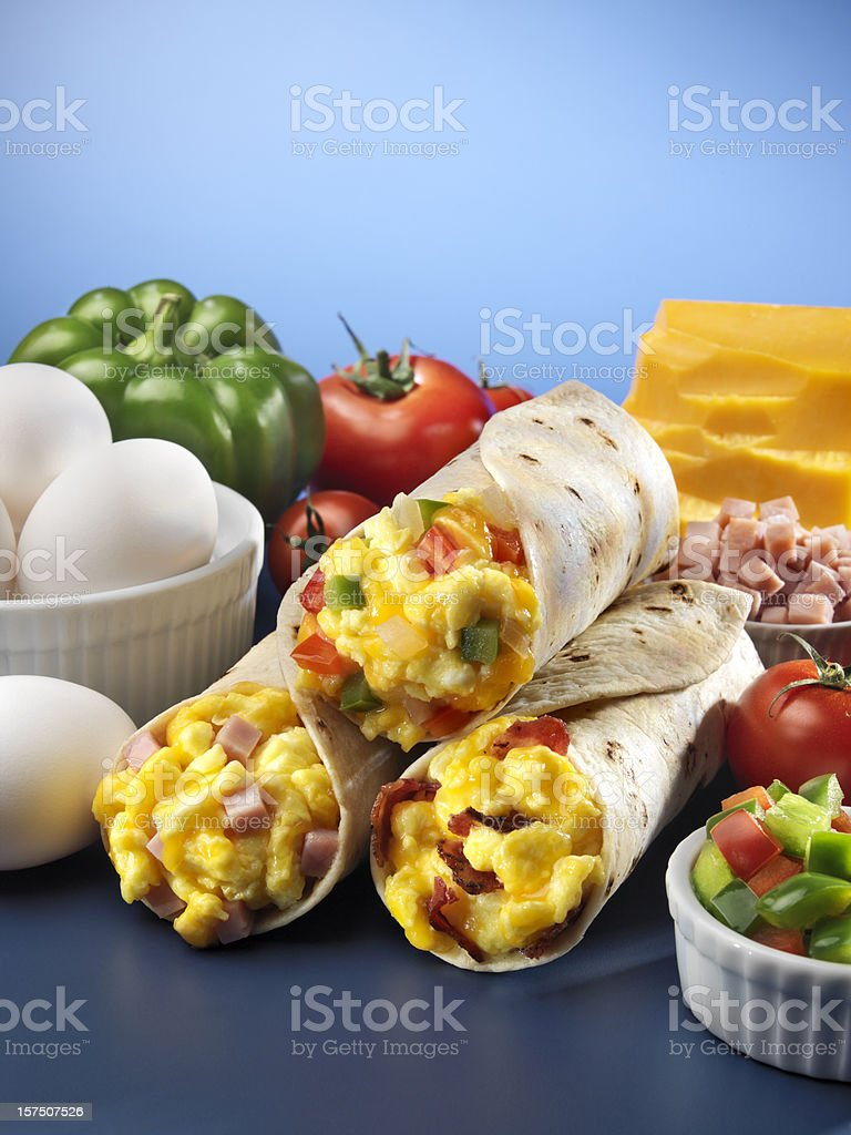Three Egg Breakfast Burritos stock photo