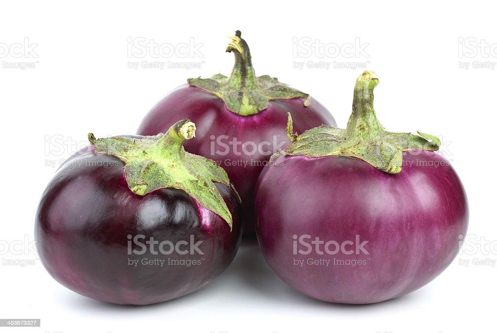 Três eggplants foto de stock royalty-free