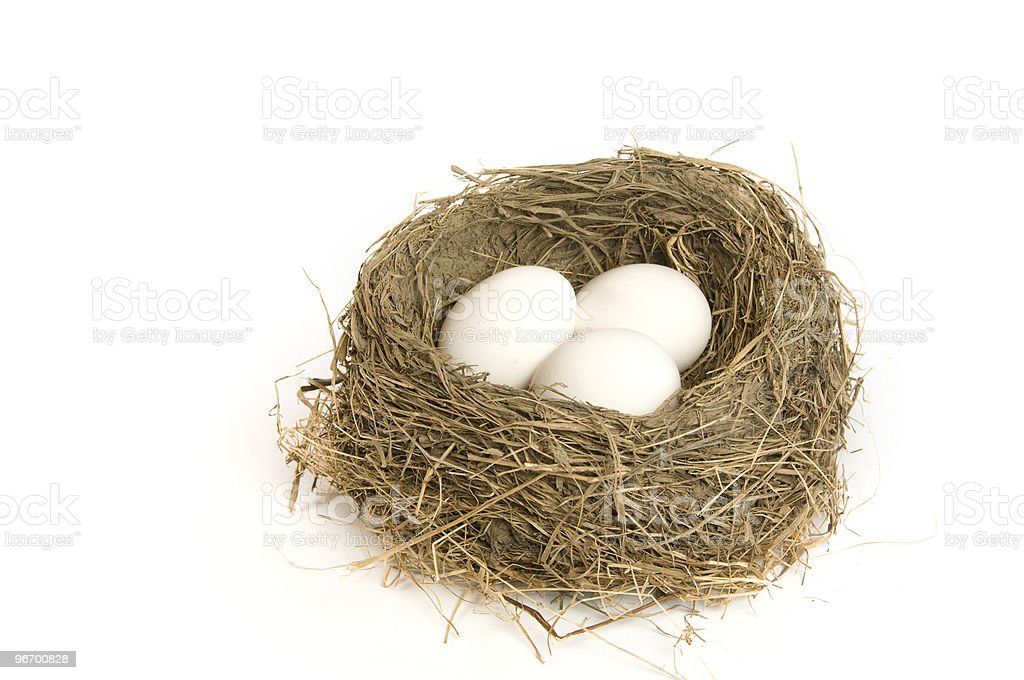 Three eggs in a nest royalty-free stock photo
