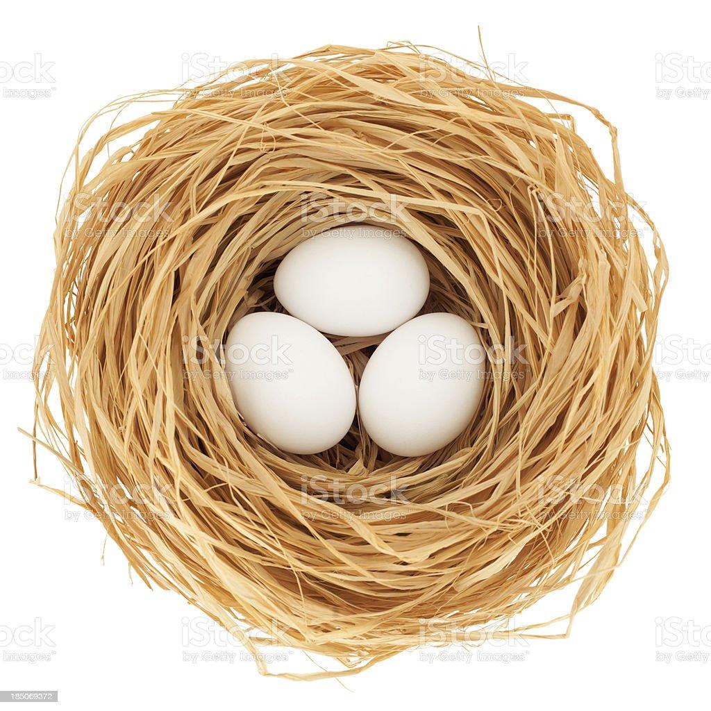 Three eggs on white background royalty-free stock photo