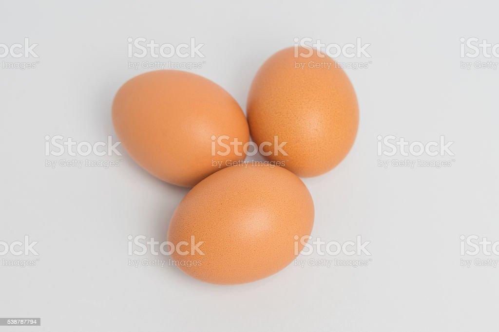 Três ovos em fundo branco foto royalty-free