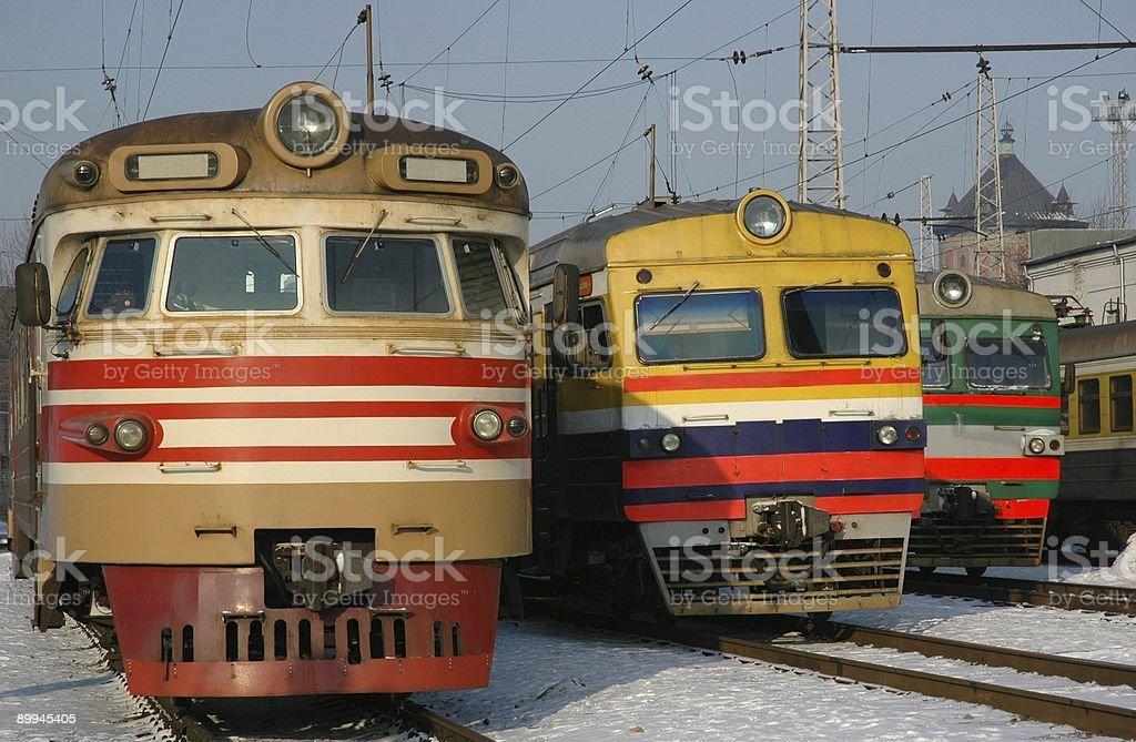 Trois Locomotives électro photo libre de droits