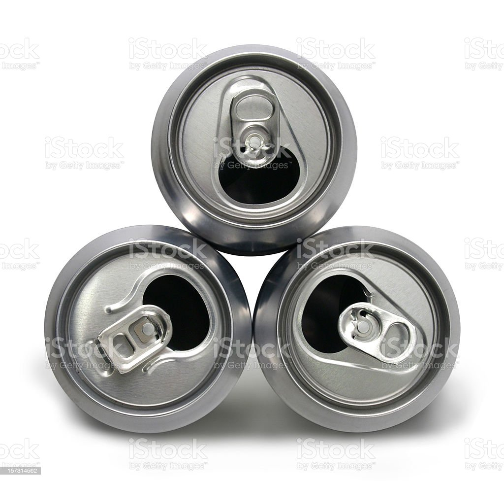 Three empty cans royalty-free stock photo
