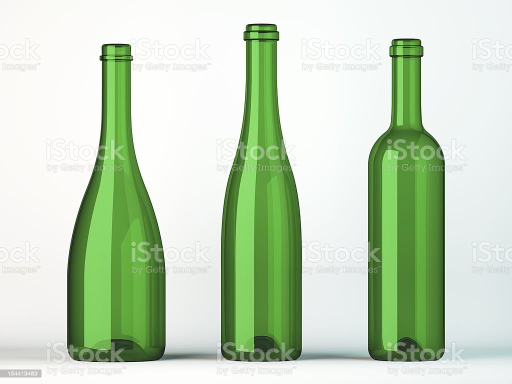 Three empty uncorked bottles for wine royalty-free stock photo