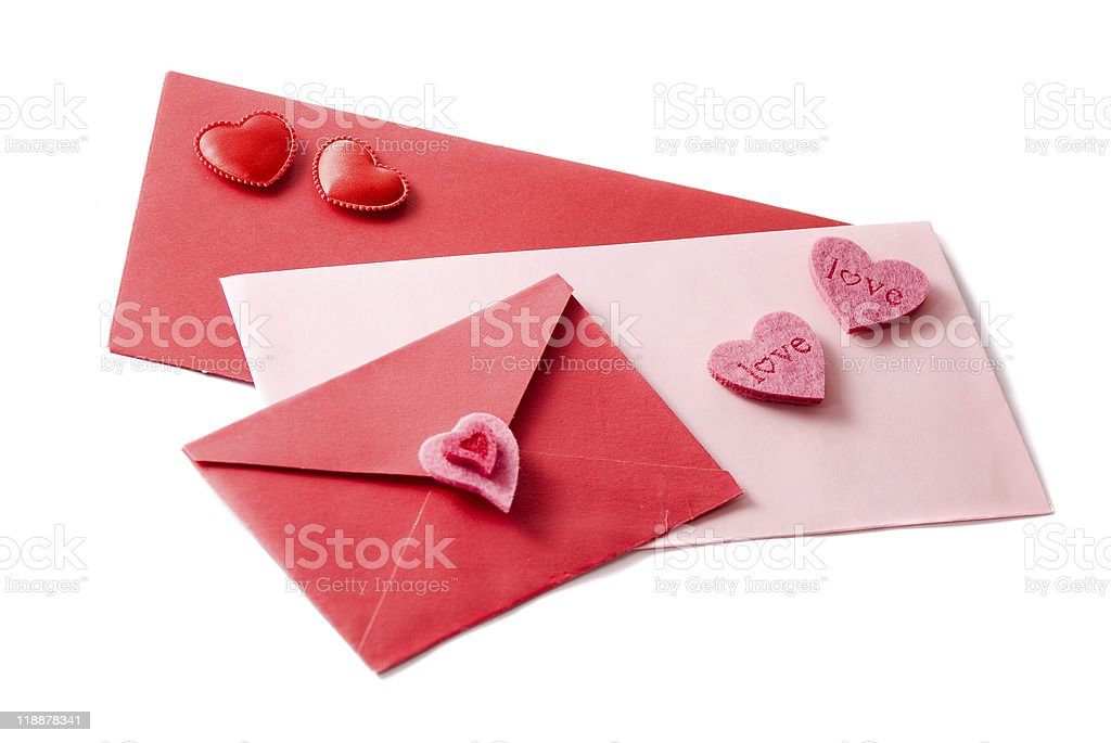 Three envelopes decorated with hearts stock photo
