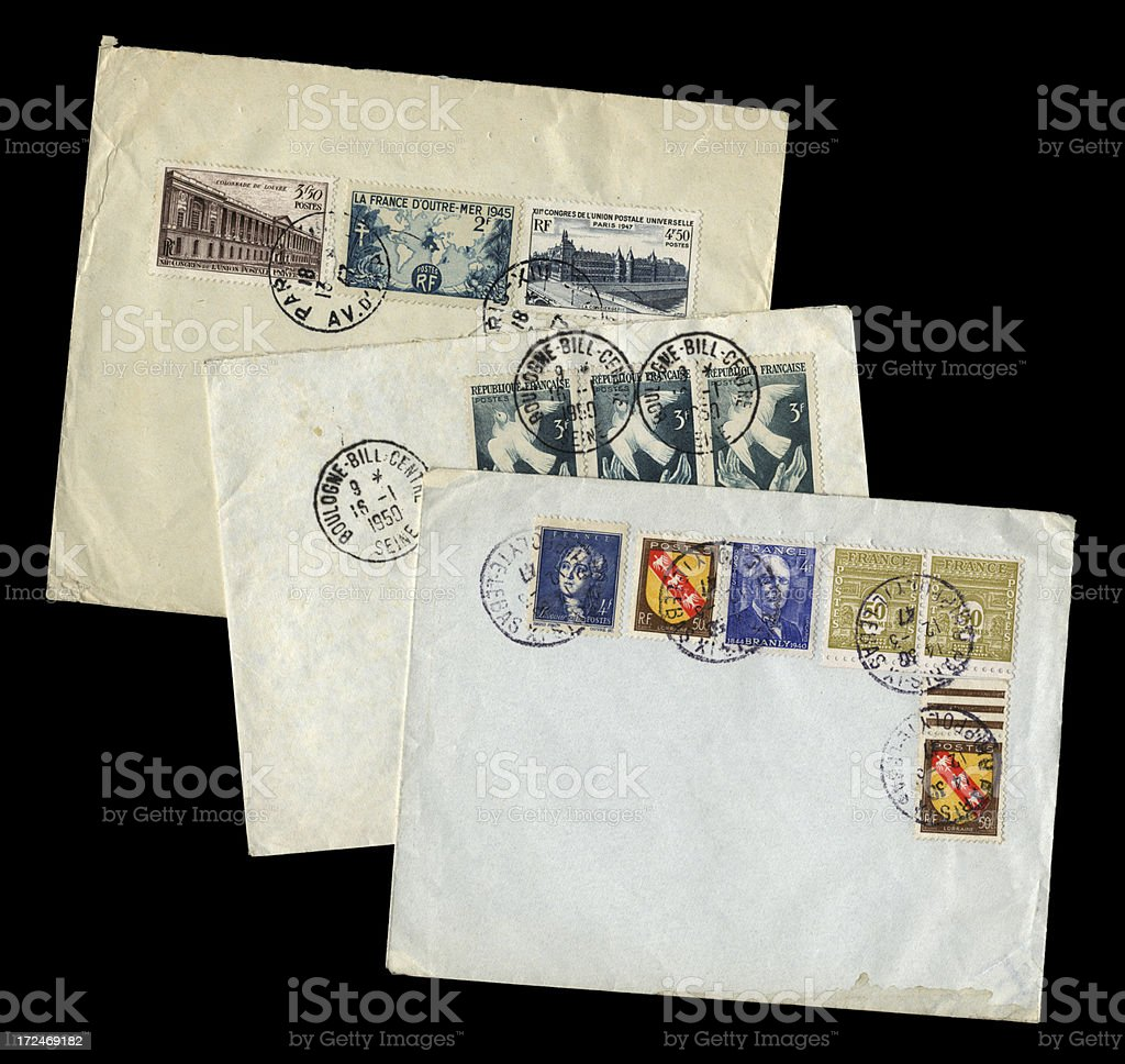 Three envelopes from France, 1947-50 royalty-free stock photo