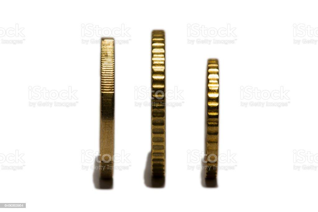 Three euro coins stock photo
