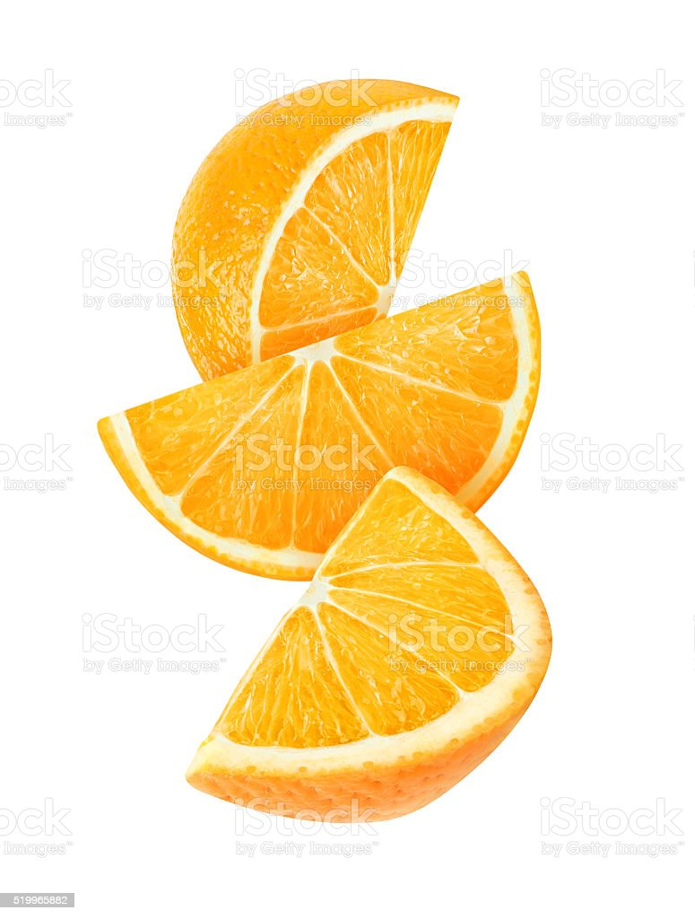 Three falling slices of orange isolated with clipping path stock photo