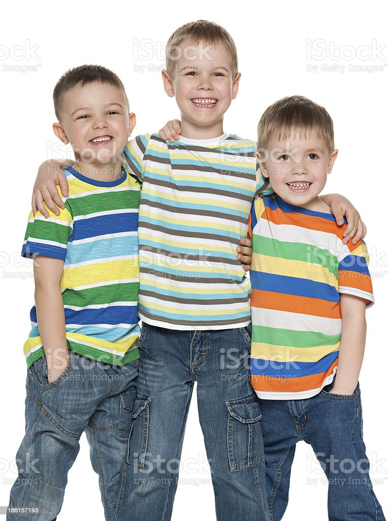Three fashion cute boys together royalty-free stock photo