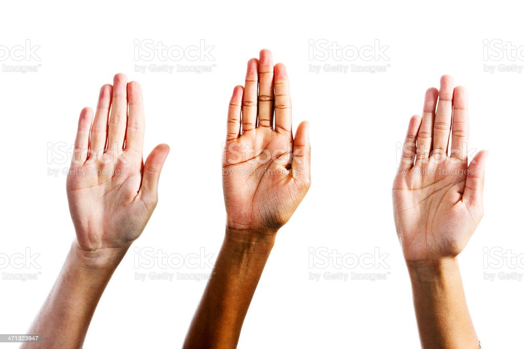 """Three female hands make """"Stop"""" gesture royalty-free stock photo"""