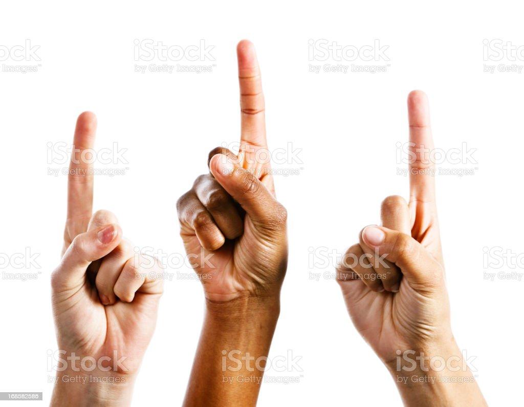 Three female hands point upwards, isolated on white stock photo