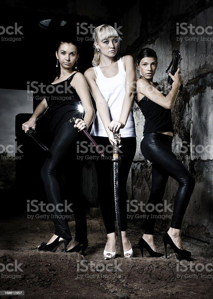 Three female warriors royalty-free stock photo