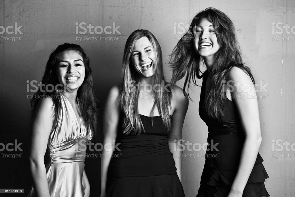 Three Females Smiling Black and White Portrait royalty-free stock photo