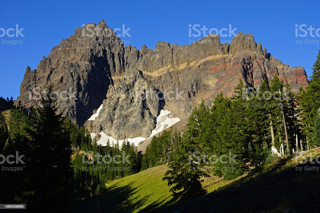 Three Fingered Jack Meadow stock photo
