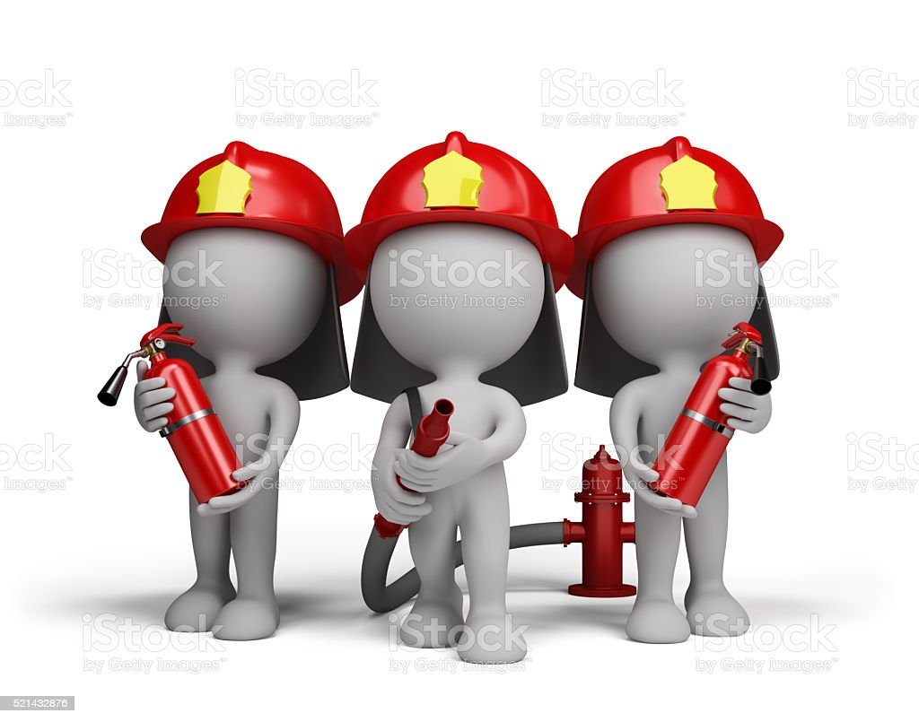 Three firefighter with the fire extinguishers stock photo