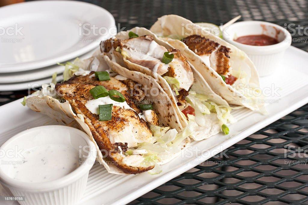 Three Fish Tacos stock photo