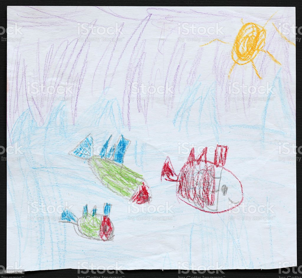 Three Fishes in Blue Sea. Child's Drawing. stock photo