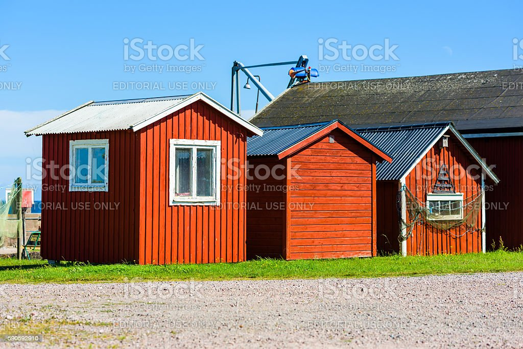Three fishing huts stock photo