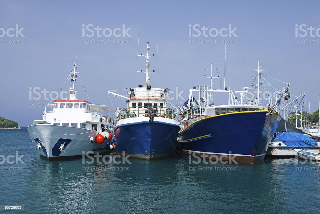 Three fishing ships royalty-free stock photo