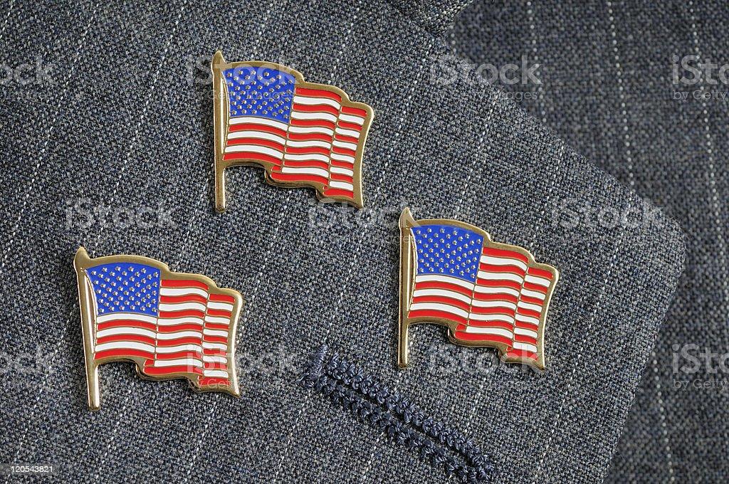 Three flag pins stock photo