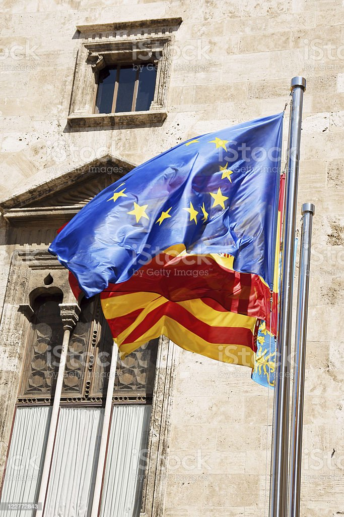 Three flags in Valencia stock photo