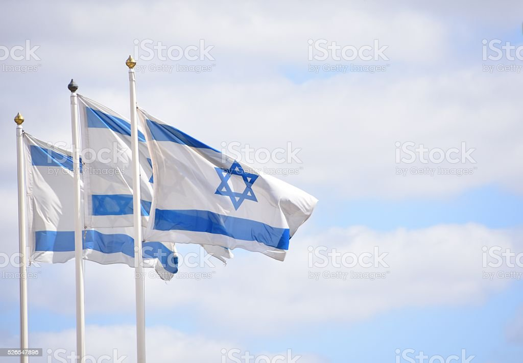 Three flags of Israel stock photo