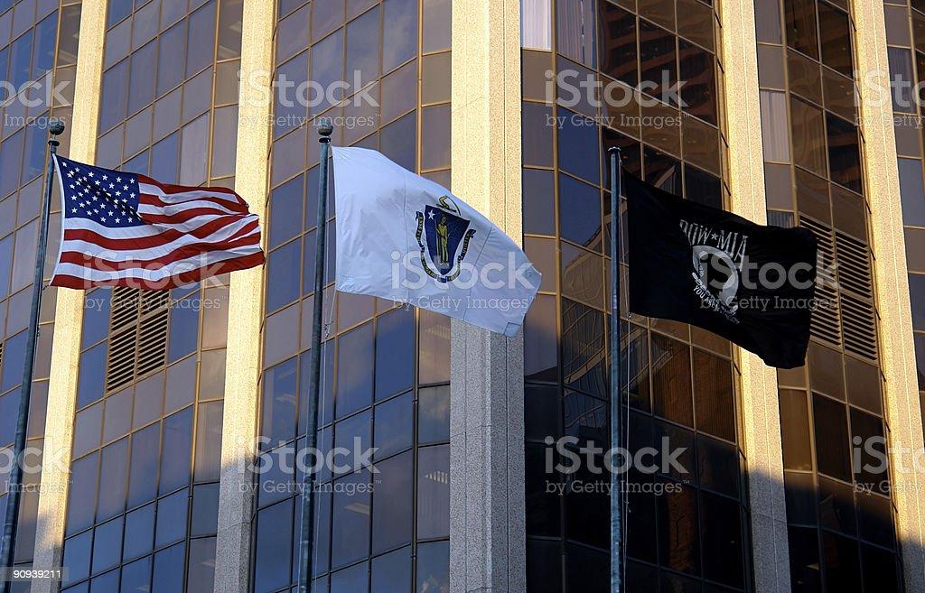 Three Flags United States Massachusetts POW MIA stock photo