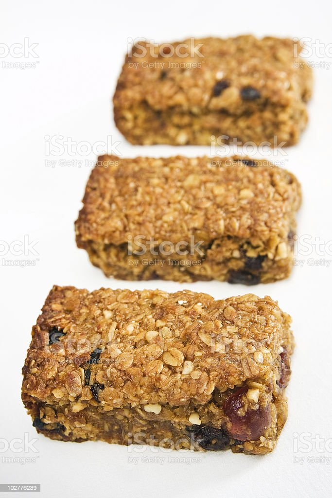 Three flapjack pieces in a row stock photo