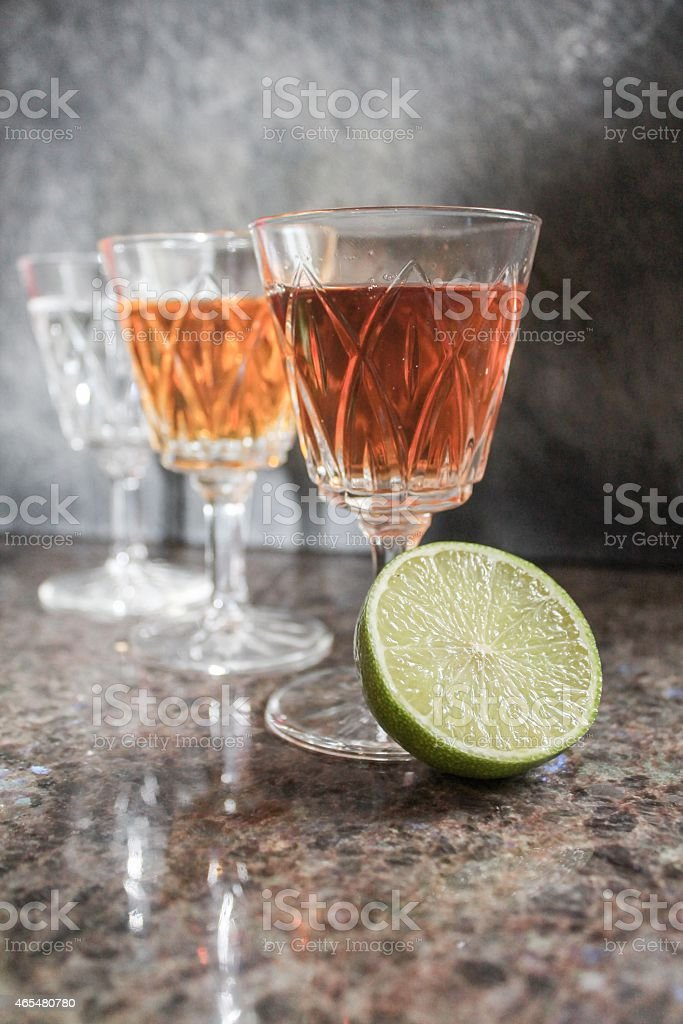 Three Flavoured shots stock photo