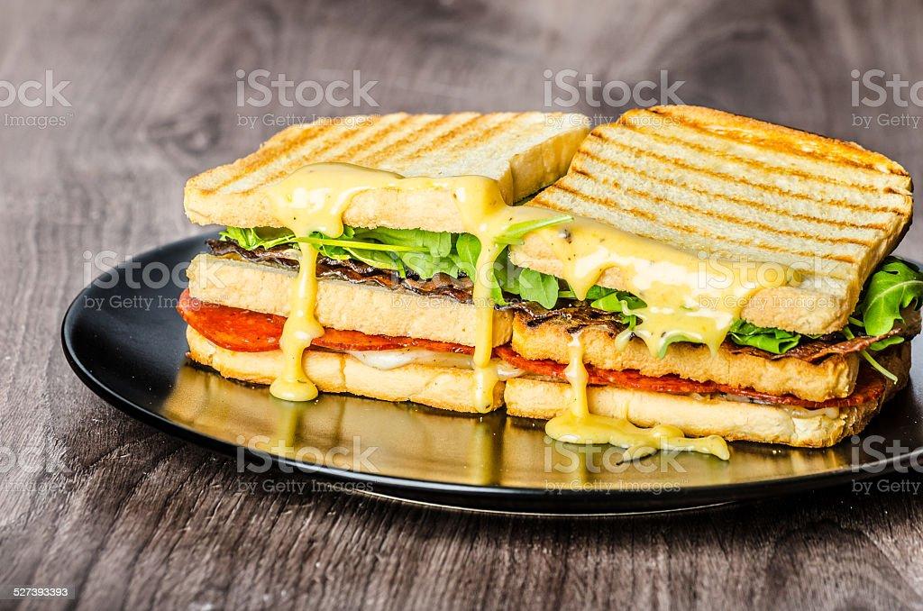 Three floor Panini toast stock photo