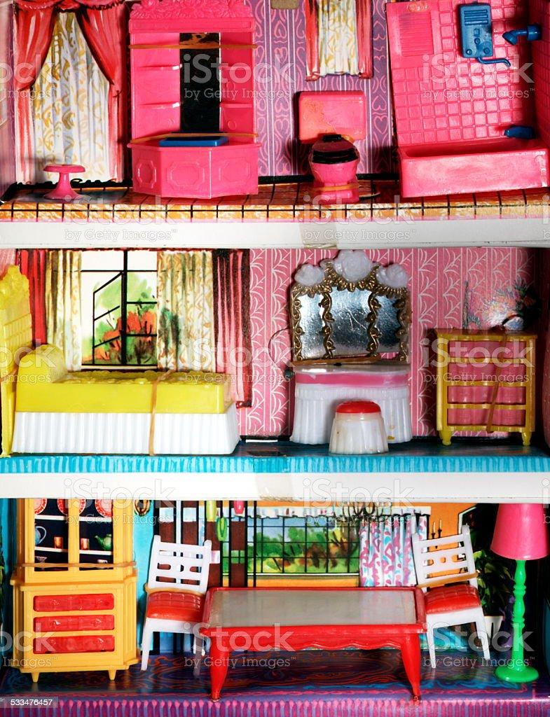 Three Floors of Dollhouse stock photo