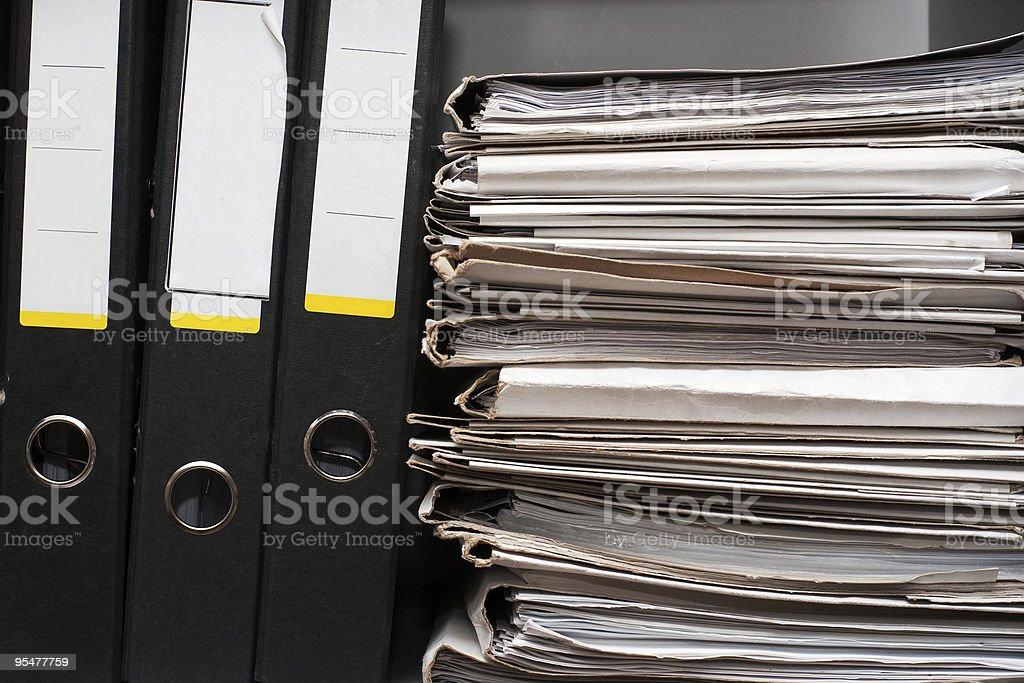 Three folders and documents royalty-free stock photo