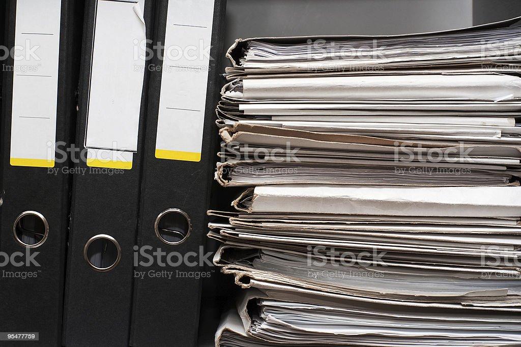 Three folders and documents stock photo