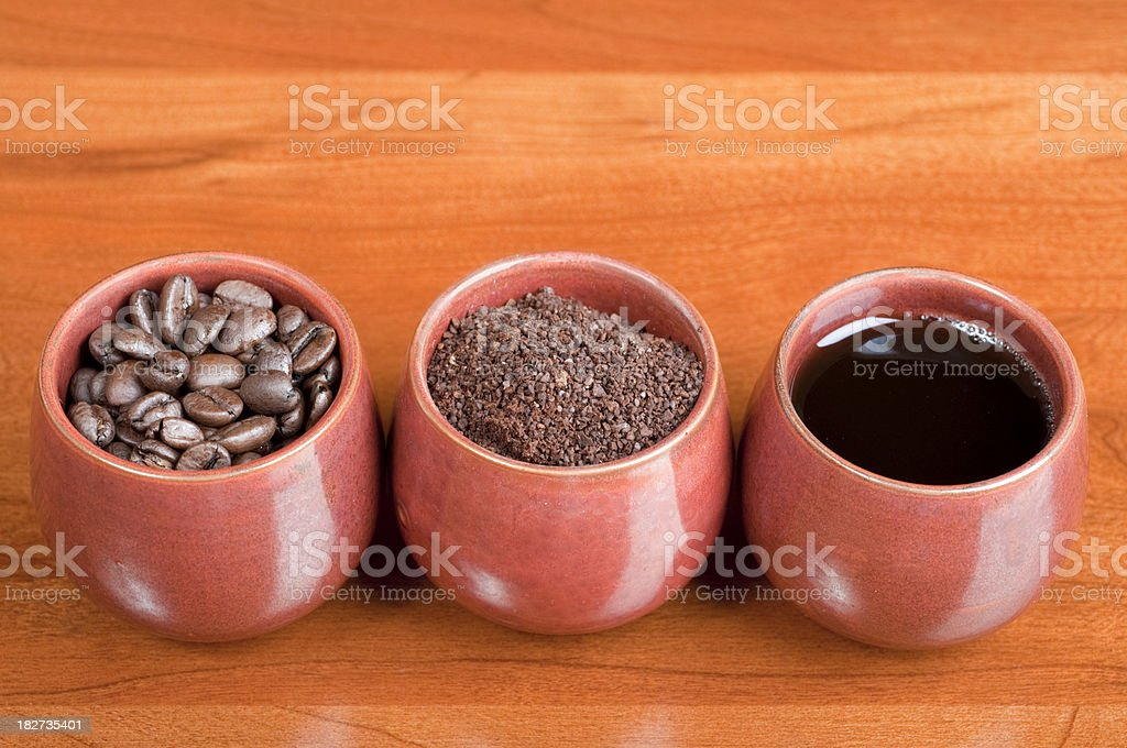 Three Forms of Coffee stock photo