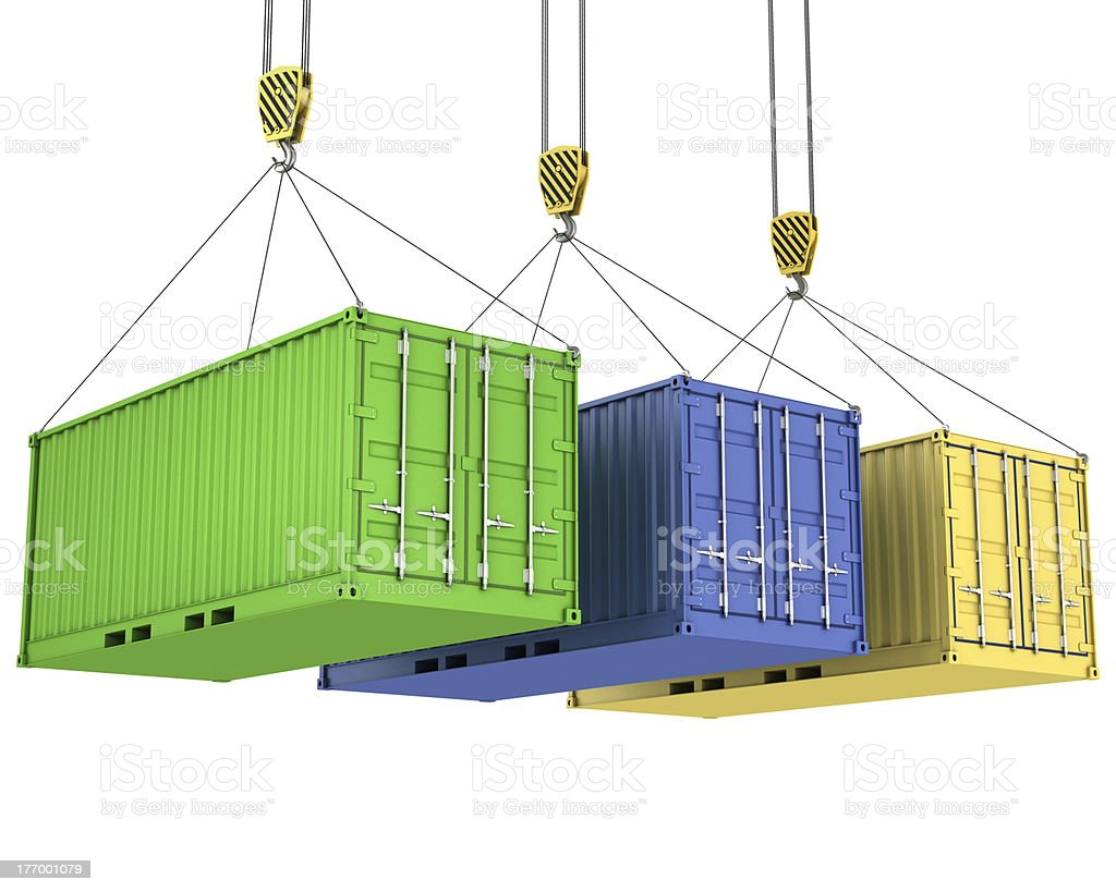 Three freight containers are being hoisted royalty-free stock photo